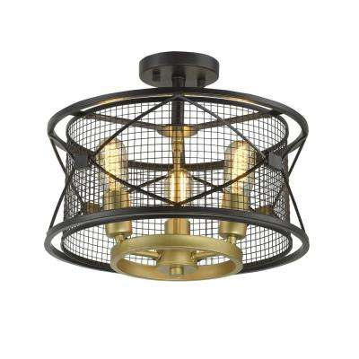 Rogue Decor Harlequin 3-Light Warm Bronze/Gold Semi-Flushmount