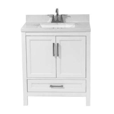 Salerno 31 in. Bath Vanity in White with Cultured Marble Vanity Top with Backsplash in Carrara White with White Basin