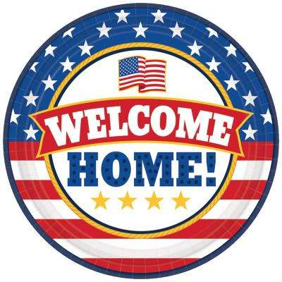7 in. x 7 in. Welcome Home Round Paper Plate (18-count, 3-Pack)