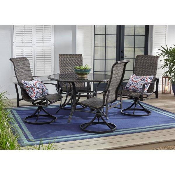 Statesville 5-Piece Steel Woven Swivel Outdoor Patio Dining Set
