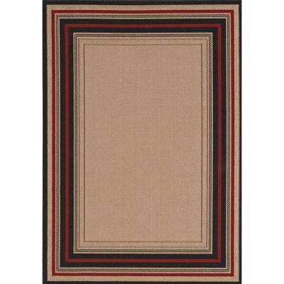 Loop Border Chili Red and Brown 8 ft. x 10 ft. Indoor/Outdoor Area Rug