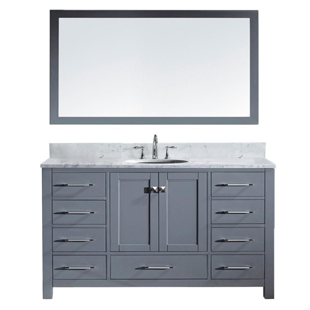 Virtu Usa Caroline Avenue 60 In W X 36 In H Vanity In Gray With Marble Vanity Top In White