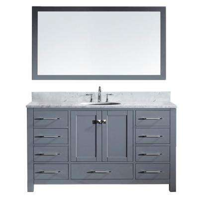 Caroline Avenue 60 in. W x 36 in. H Vanity in Gray with Marble Vanity Top in White with White Round Basin and Mirror