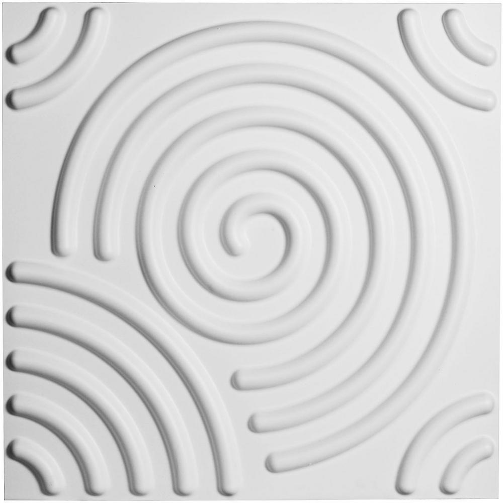 Ekena Millwork 3/8 in. x 19-5/8 in. x 19-5/8 in. PVC White Spiral EnduraWall Decorative 3D Wall Panel