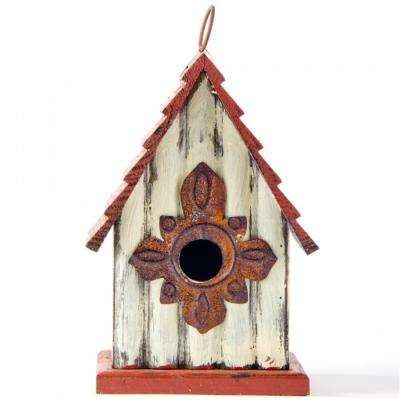 9.06 in. H Distressed Solid Wood Birdhouse
