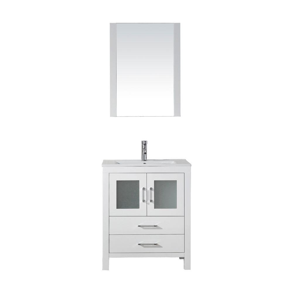 Virtu USA Dior 28 in. W Bath Vanity in White with Ceramic Vanity Top in Slim White Ceramic with Square Basin and Mirror and Faucet