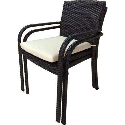 River Espresso Stackable Wicker Outdoor Dining Chair With Cream White Cushion 2 Pack