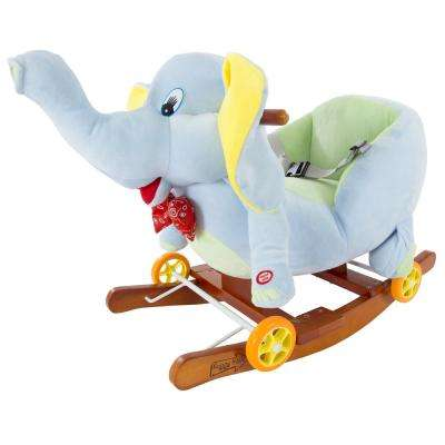 Plush Gray Rocking Elephant with Seat