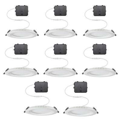 5 in. New Construction and Remodel 900 Lumens Color Selectable Canless Integrated LED Recessed Lighting Kit(8 Pack)