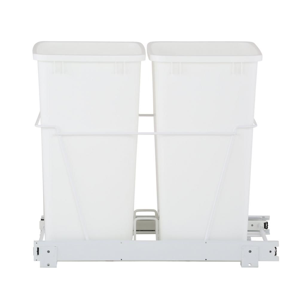 Rev A Shelf 19 In H X 14 In W X 22 In D Double 35 Qt Pull Out White Waste Containers With Full Extension Slides Rv 18pb 2 S The Home Depot