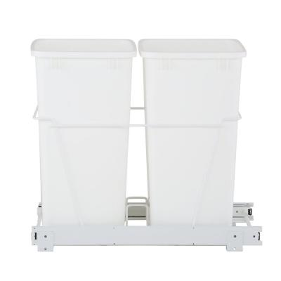 19 in. H x 14 in. W x 22 in. D Double 35 Qt. Pull-Out White Waste Containers with Full Extension Slides