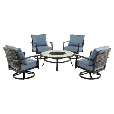 Whitfield 5-Piece Dark Brown Metal Outdoor Patio Round Fire Pit Seating Set w/ Standard Steel Blue Cushions