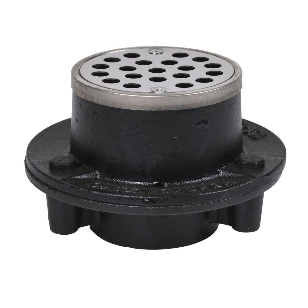 Oatey Cast Iron Shower Drain with Round 3-1/4 in. Stainless Steel