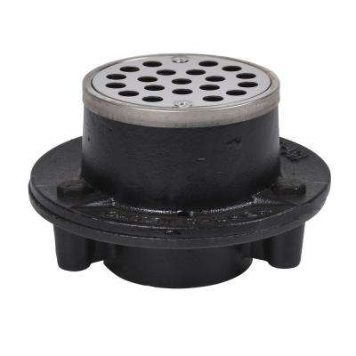 Oatey Cast Iron Shower Drain with Round 3-1/4 in. Stainless Steel Strainer