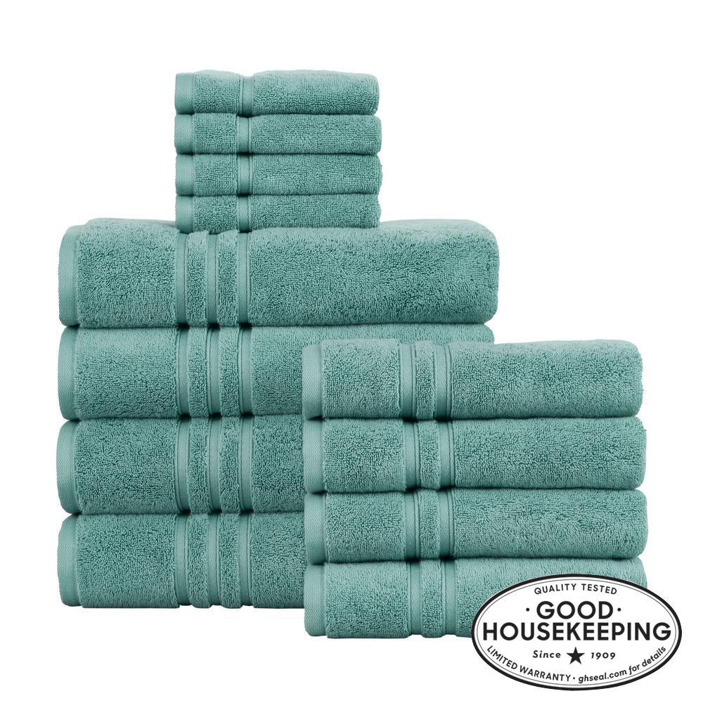 Turkish Cotton Ultra Soft 12-Piece Towel Set in Aloe