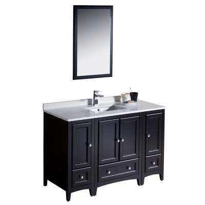 Warwick 48 in. Bathroom Vanity in Espresso with Quartz Stone Vanity Top in White with White Basin and Mirror