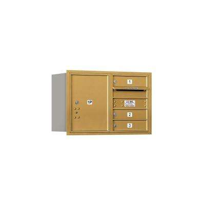 3700 Series 20 in. 5 Door High Unit Gold USPS Rear Loading 4C Horizontal Mailbox with 3 MB1 Doors/1 PL5