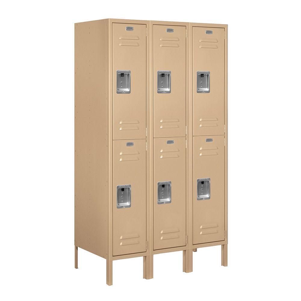 62000 Series 36 in. W x 66 in. H x 18 in. D 2-Tier Metal Locker Unassembled in Tan