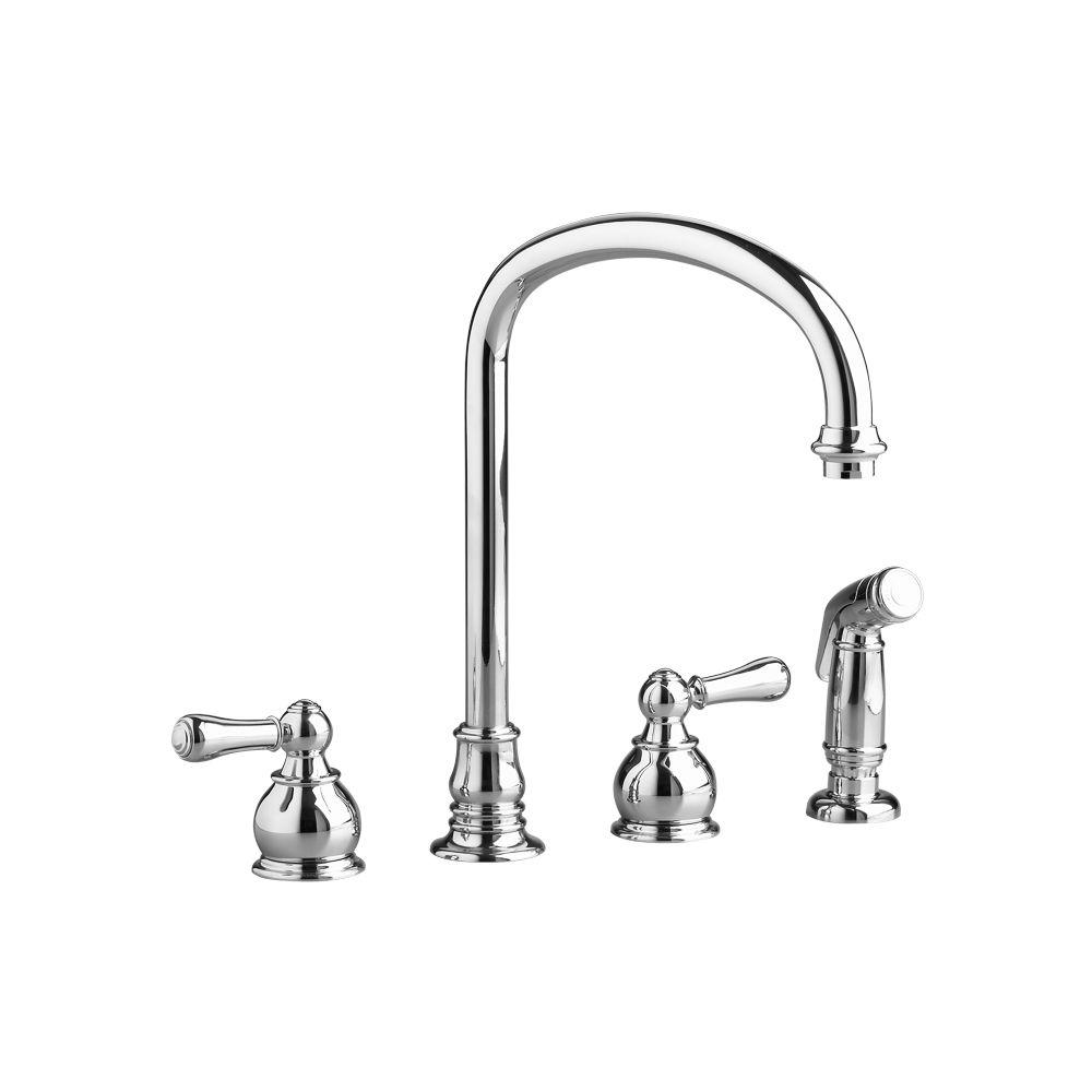 American Standard Hampton 2 Handle Standard Kitchen Faucet In Nickel