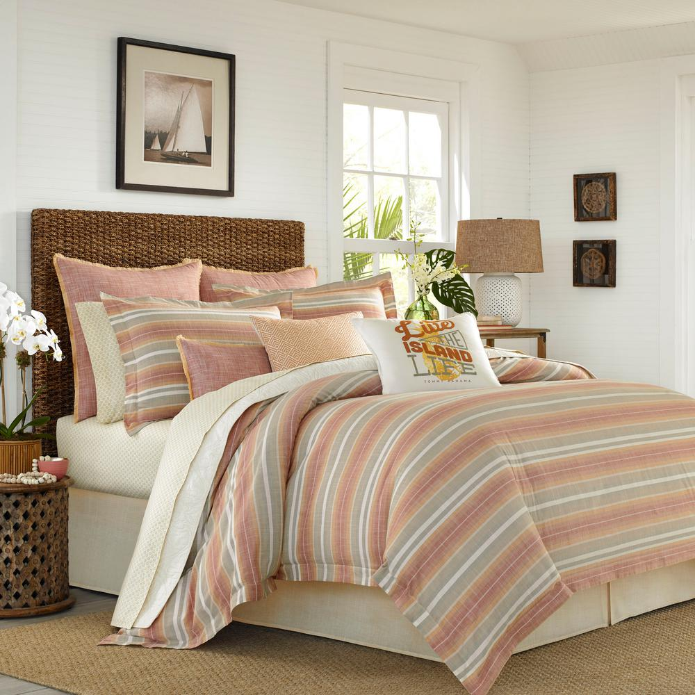 Sunrise Full/Queen Stripe Duvet Cover, Orange Casual stripes have a timeless appeal and this relaxed yarn dye woven ensemble is no exception. A sunrise palette of coral and gold is complemented with neutral sand tones and accented with crisp white in this all cotton, striped duvet cover set. Full/ Queen Duvet (92 in. L x 88 in. W), King Duvet (92 in. L x 107 in. W). Color: Orange.