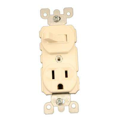 15 Amp Commercial Grade Combination Single Pole Toggle Switch and Receptacle, Light Almond