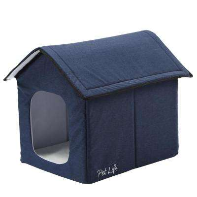 Small Navy Hush Puppy Electronic Heating and Cooling Smart Collapsible Pet House
