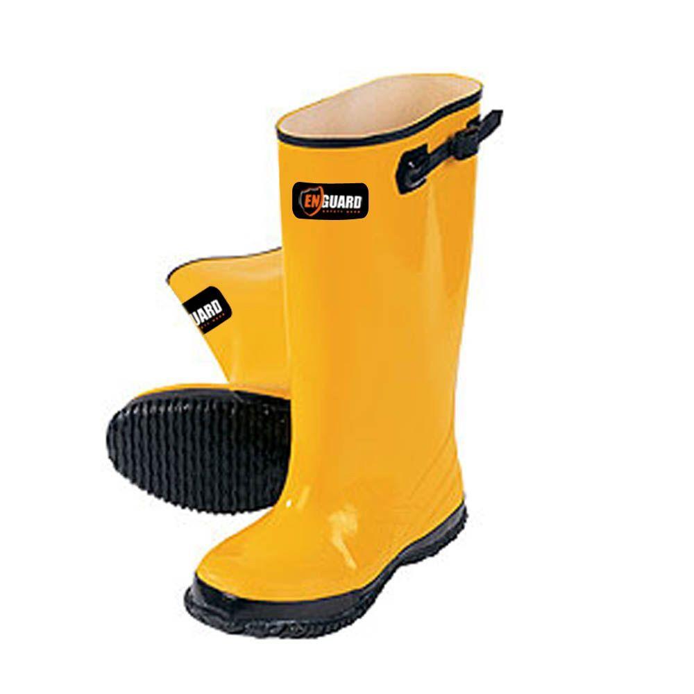Men's Size 17 Yellow Rubber Slush Rain Boots, Yellows/Golds