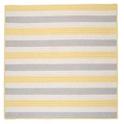 Baxter Yellow Shimmer 6 ft. x 6 ft. Square Braided Indoor/Outdoor Area Rug