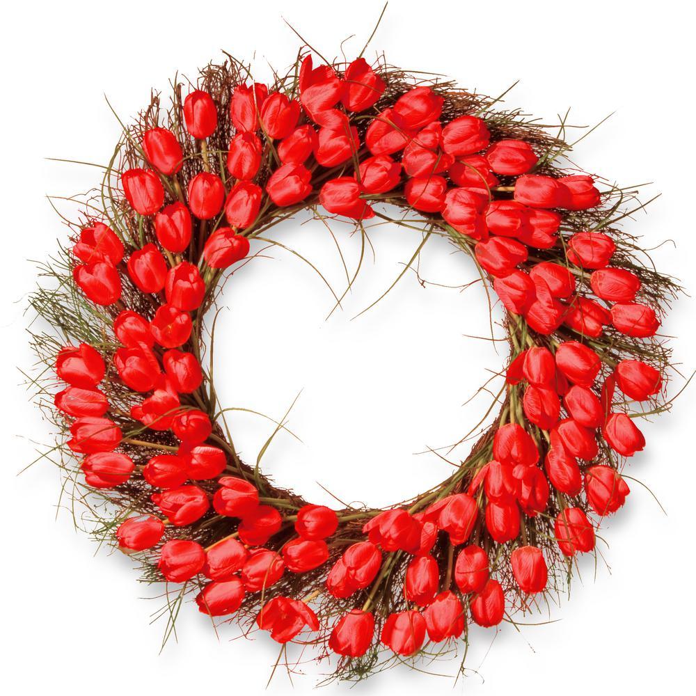 32 in. Red Tulip Wreath