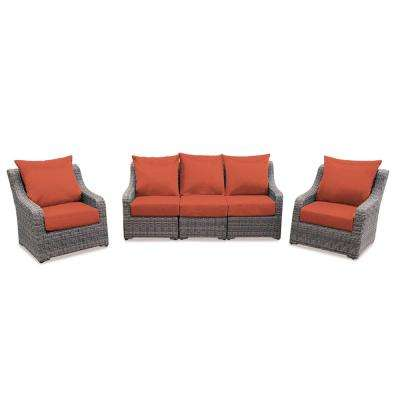 Cherry Hill 5-Piece Patio Deep Seating Set with Canvas Brick Cushions