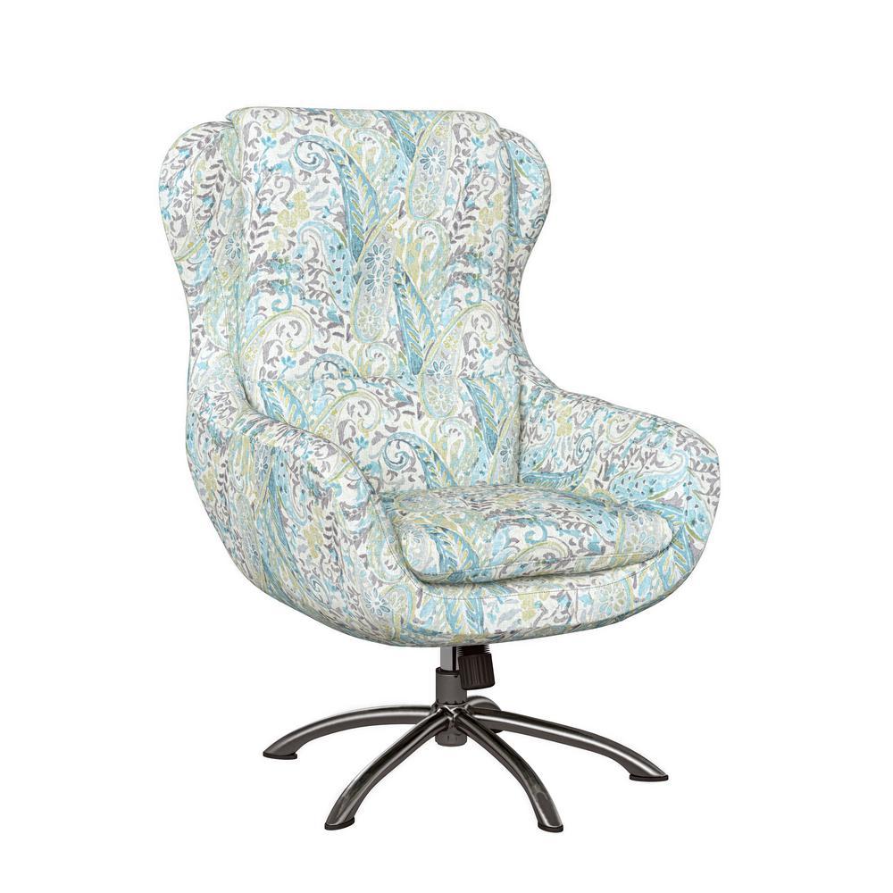Selena Modern Swivel Rocking Chair in Sky Blue Multi Paisley