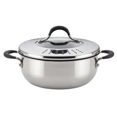 Momentum Stainless Steel Nonstick 4-Quart Covered Casserole with Locking Straining Lid