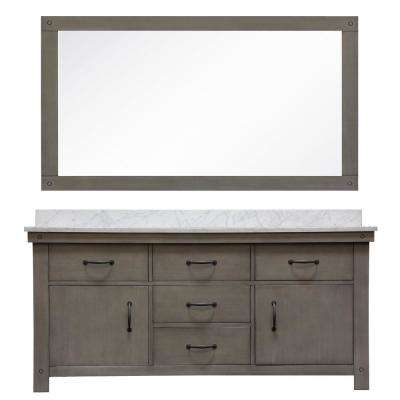 Aberdeen 72 in. W x 34 in. H Vanity in Gray with Marble Vanity Top in Carrara White with White Basins and Mirror