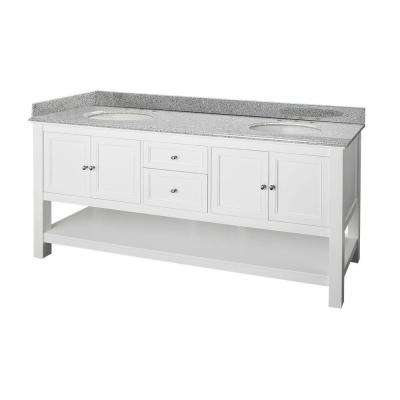 Gazette 72 in. W x 22 in. D Double Bath Vanity in White with Granite Vanity Top in Rushmore Grey