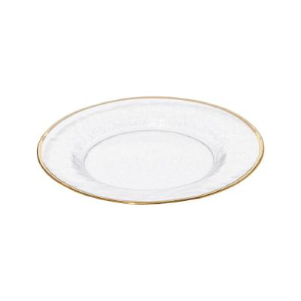 Metallic Gold Rim Glass Clear Salad Plate (Set of 4)
