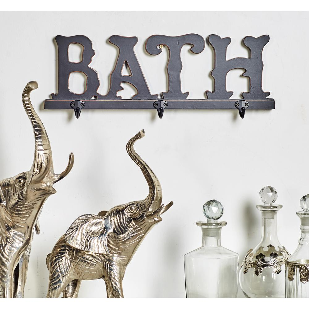 "Black Wood and Iron ""BATH"" Wall Hook Rack"