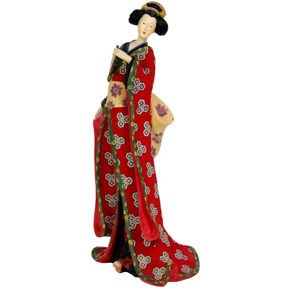 Oriental Furniture 18 in. Geisha Figurine with Red Kimono Decorative Statue