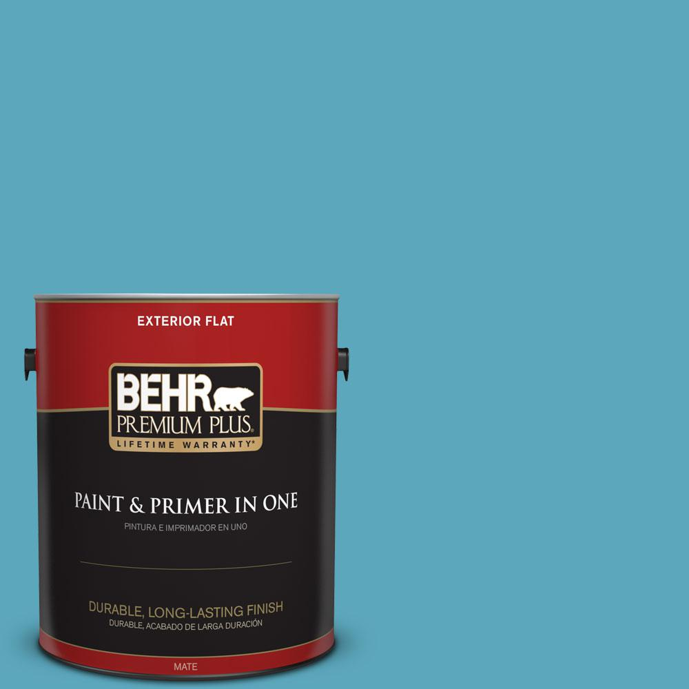 1 gal. #T15-11 Sonic Blue Flat Exterior Paint