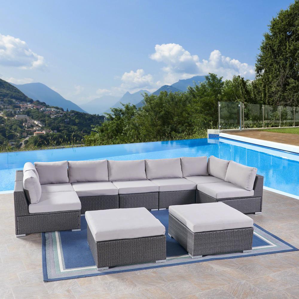 Santa Rosa Grey 9-Piece Wicker Patio Conversation Set with Silver Cushions