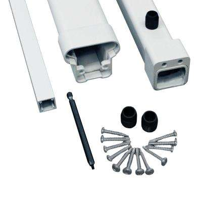 Pro 8 ft. White Aluminum Fixed Angle Stair Top and Bottom Rail Kit