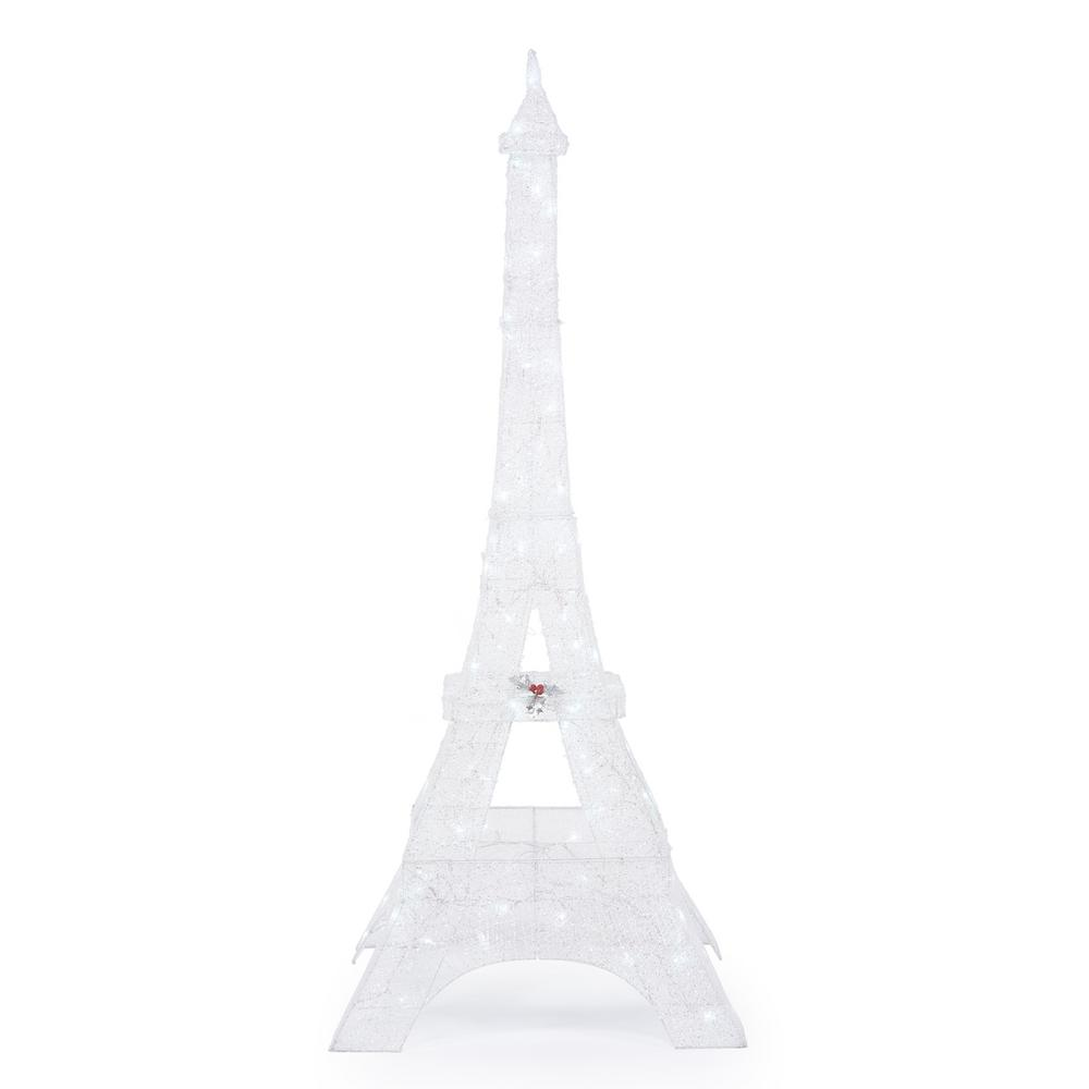 Home Accents Holiday Icicle Shimmer 86 in. LED Lighted Twinkling PVC Eiffel Tower