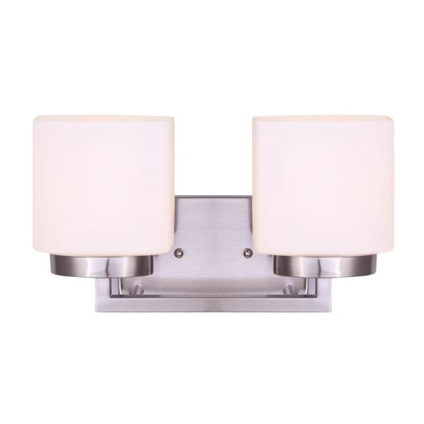 Sutherland 14.1 in. 2-Light Brushed Nickel Vanity Light with Flat Opal Glass Shades