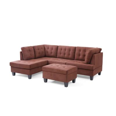Eden 2-Piece Chocolate Microfiber 3-Seater L-Shaped Sectional Sofa with Removable Cushions
