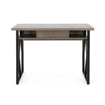 Fernwood Modern Dark Gray Faux Wood Writing Desk with Black Metal Frame