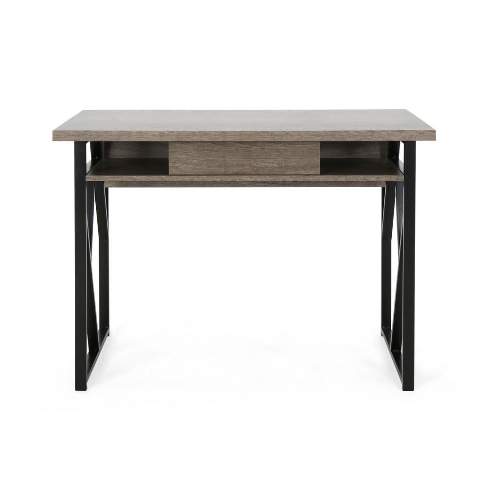 Noble House Fernwood Modern Dark Gray Faux Wood Writing Desk with Black Metal Frame