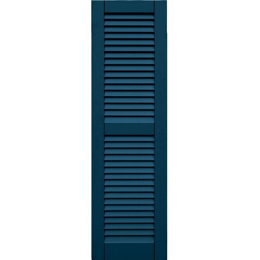 Winworks Wood Composite 15 in. x 52 in. Louvered Shutters Pair #637 Deep Sea Blue