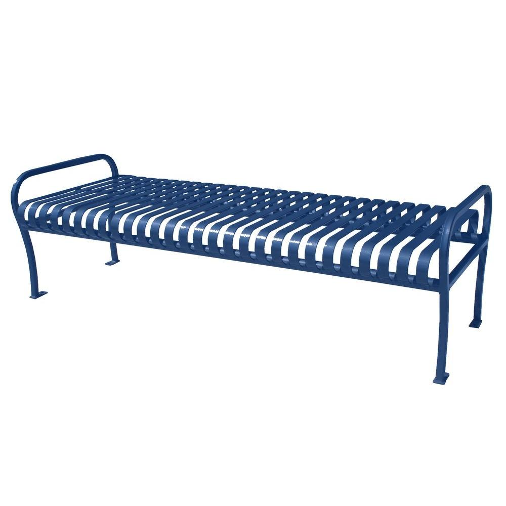 6 ft. Blue Premier Backless Bench