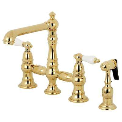 English Country 2-Handle Bridge Kitchen Faucet with Side Sprayer in Polished Brass
