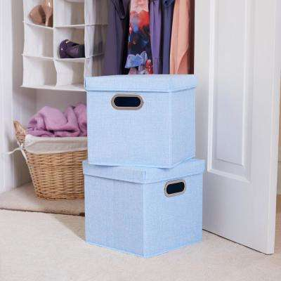 11 in. x 11 in. Sky Heather linen Bin Set (2-Pack)