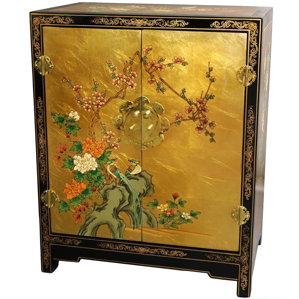 Oriental Furniture Gold Leaf Lacquer Shoe Cabinet